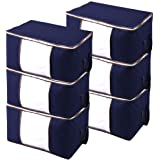 JERIA 6-Pack Extra Large Capacity Storage Bins with Clear Window, Closet Organizer and Clothes Storage Bags, 3 Layers Fabric,