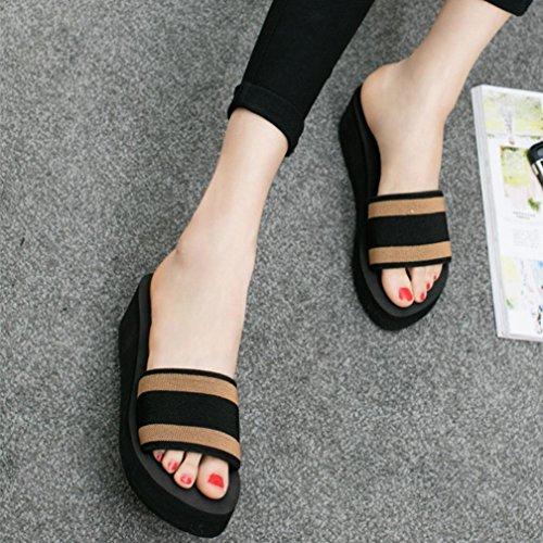 sandales de marron tongs pantoufles extérieures et d'été femmes plage intérieures hunpta chaussures 5zqF64