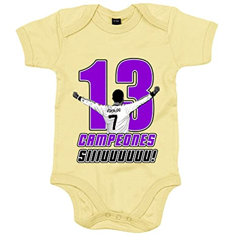 Body bebé Real Madrid campeones la decimotercera Copa de Europa CR7 Siuu Sii Champions - Amarillo, 6-12 meses