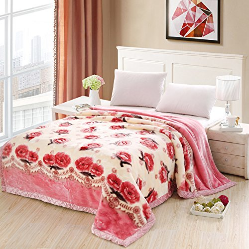 Znzbzt Wedding red blanket thick-pile carpet in winter cover wedding celebration red double blanket ,180X220-6 catty, small Phillips by Znzbzt