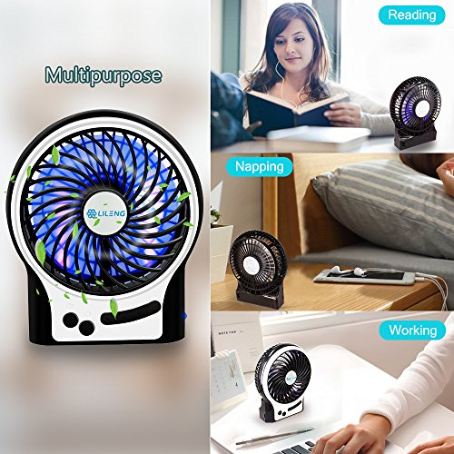 USB Fan BENGOO Table Desk Mini Fan Electric Portable Cooling Fan with Rechargeable Battery for Room Office Travelling Camping Use–Black (Remove the Plastic film in the Battery Case before Operation)