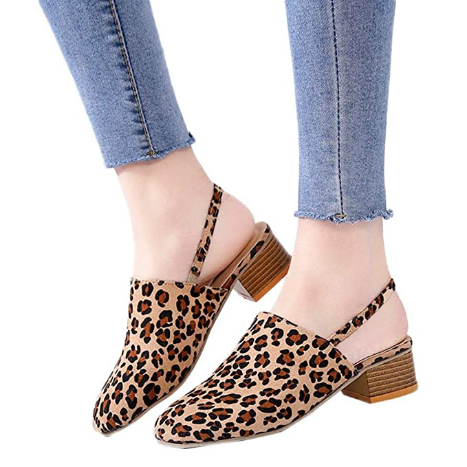 9c9749b1db827 Amazon.com: Sharemen Women's Round Head Shoes Shallow Mouth Leopard ...