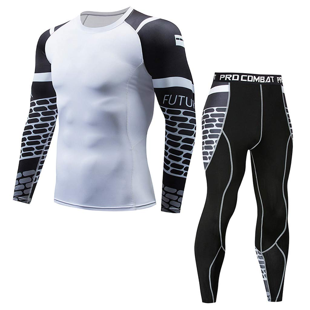 FD-FLY88 Mens Casual Long Sleeve Fitness Sweat-Absorbent Breathable Sports Tight Suit T-Shirt