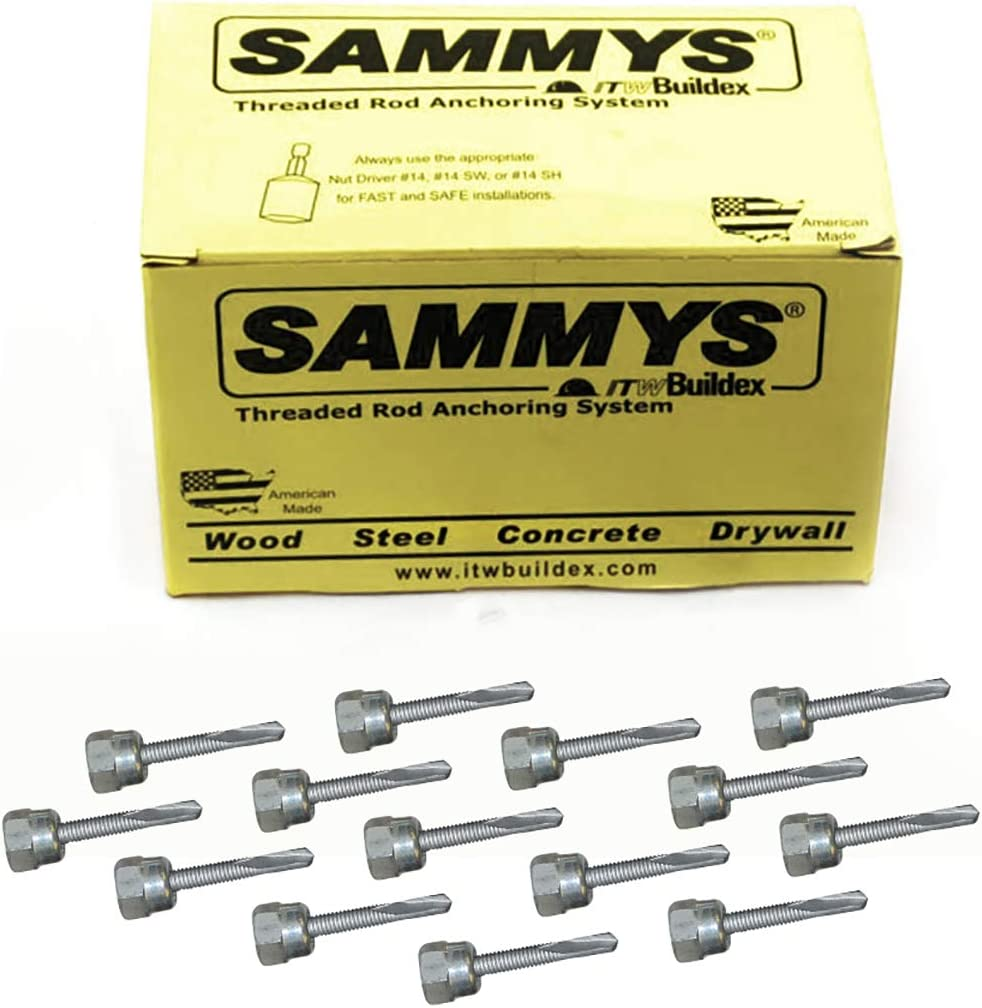 Sammys 8041957-25 Vertical Anchor Super Screw with 3/8 in. Threaded Rod Fitting, 1/4-14 x 1 1/2, Steel 25 Pack, 25 Piece