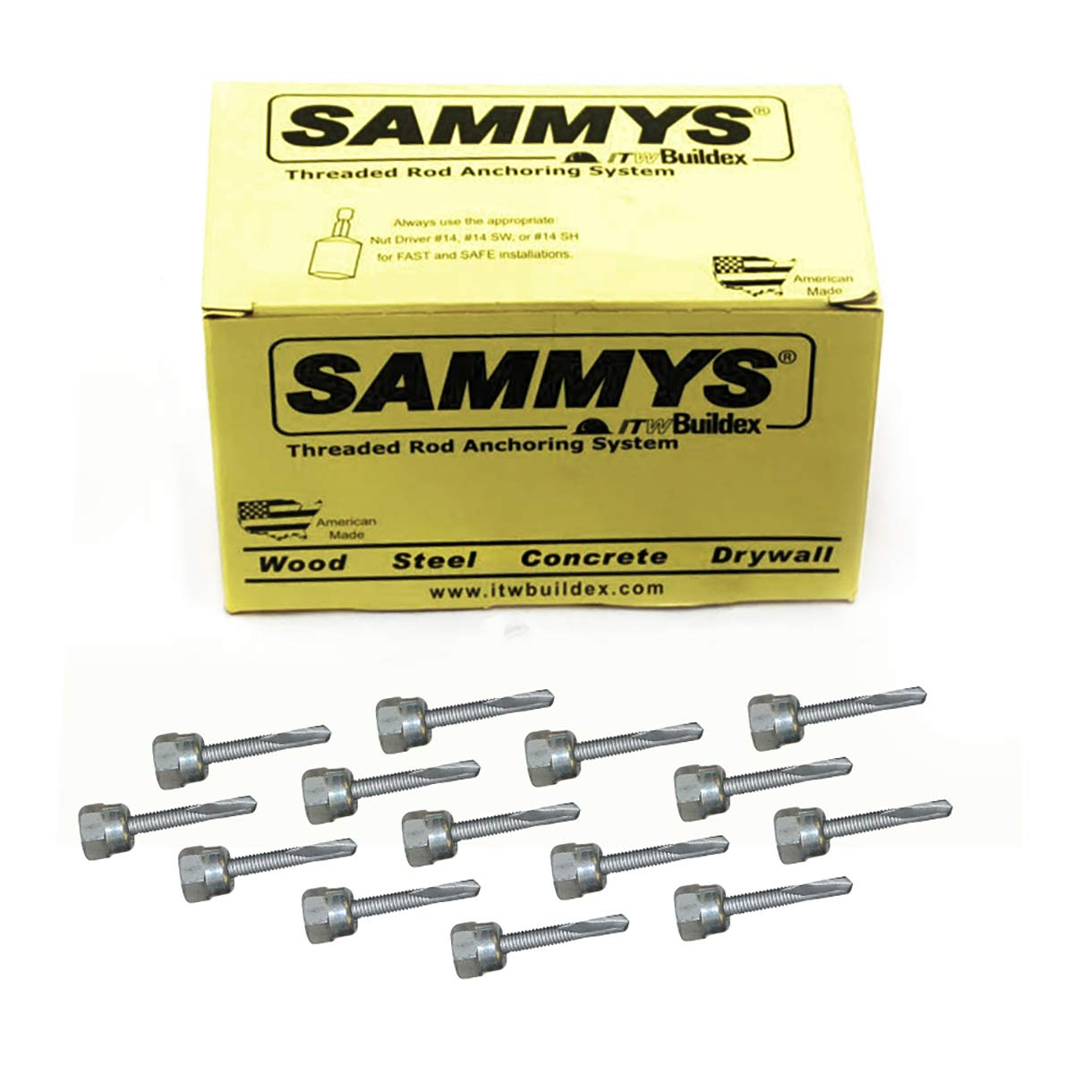 Sammys 8045957-25 Vertical Anchor Super Screw with 3/8 in. Threaded Rod Fitting 5/16-18 x 1 1/4, for for Steel 25 Pack Piece