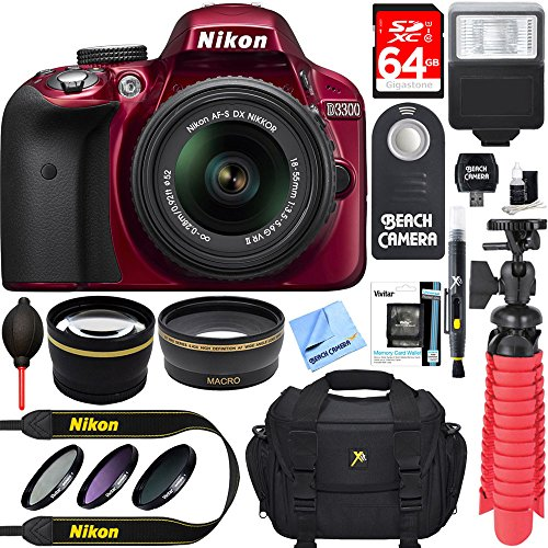 Nikon D3300 24.2 MP DSLR Camera + AF-S DX 18-55mm VR II Lens Kit + Accessory Bundle 64GB SDXC Memory + SLR Photo Bag + Wide Angle Lens + 2x Telephoto Lens + Flash + Remote + Tripod + Filters (Red)