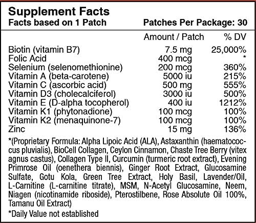 Biotin Plus Topical Patch for Hair, Skin, and Nails by PatchAid (1-Month Supply) 2