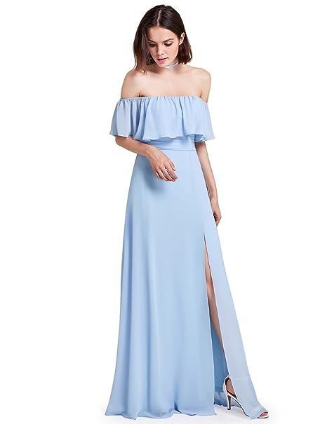 550af64ffd Ever-Pretty Vestido de Fiesta Noche Largos Boda Gasa Dama de Honor con  Volantes para Mujer 07201  Amazon.es  Ropa y accesorios