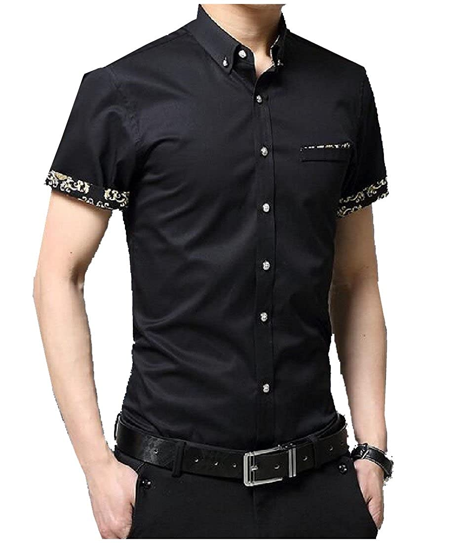 RkBao Mens Short-Sleeve Fit Buttoned Turn-Down Collar Floral Work Shirt