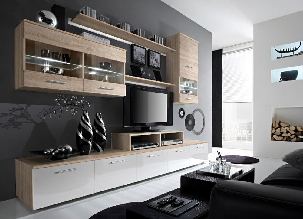 Amazon.com: Paris Contemporary Design Wall Unit/Modern Entertainment ...