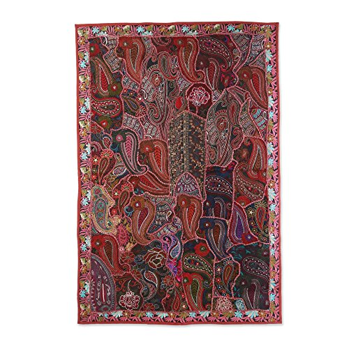 NOVICA Bohemian Large Cotton Wall Mural, Multicolor, Terracotta -