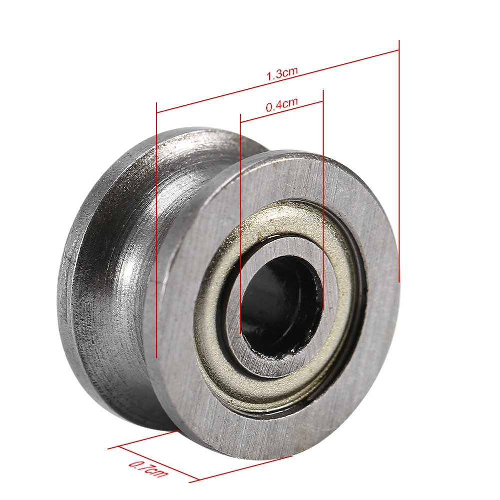 7mm 10 unids U624ZZ Mini U Groove Ball Bearing Polea de Gu/ía de Acero al Carbono Para Carril Sistema Lineal 4 13