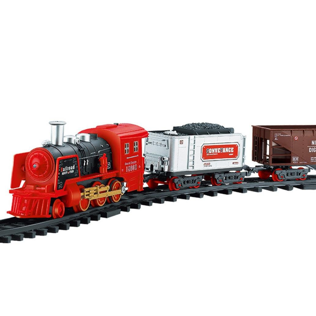Gbell Remote Control Conveyance Train Car - Electric Steam Smoke Rc Train Set Model Toy Gift For Toddlers Kids Baby Boys 3 Years Over (B)