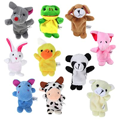 Toyvian 10PCS Animals Finger Puppets Cartoon Hand Puppets Soft Velvet Dolls for Story Telling (Random Pattern): Toys & Games