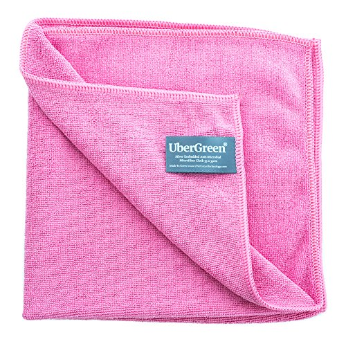 ubergreen-microfiber-cleaning-cloth-silver-threads-embedded-rose-reusable-enviro-microfiber