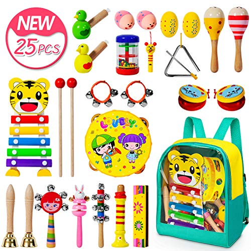 (Toddler Musical Instruments-25 PCS 17 Types Wooden Percussion Instruments Toy for Kids Musical Toys for Kids Musical Toys Set for Boys and Girls with Storage Bag)