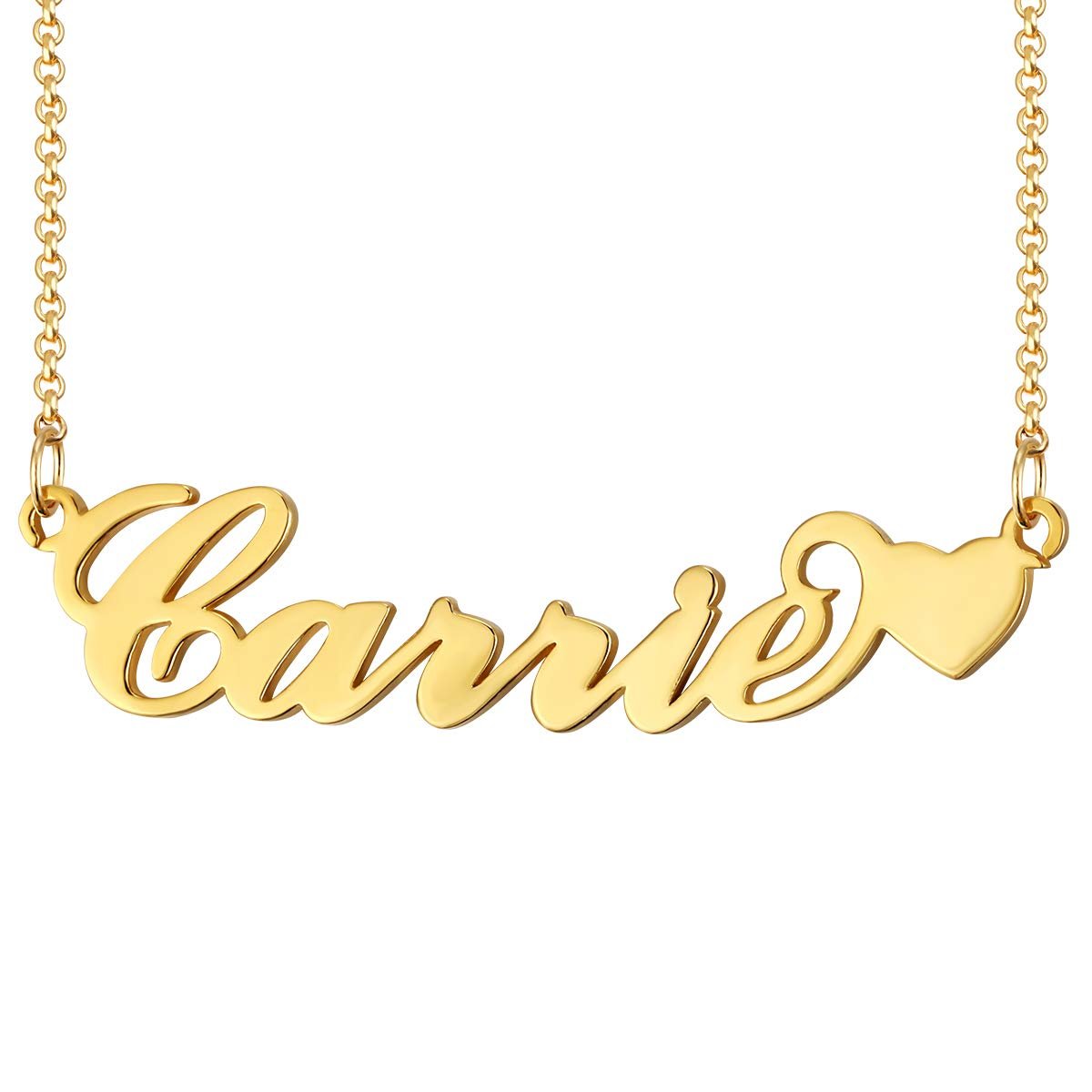 Custom Name Necklace Personalized 18K Gold Plated Nameplate Jewelry Gift for Women Grils