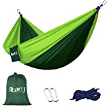 Single & Double Camping Hammock - Portable Lightweight Parachute Nylon Fabric Hammock With Ropes Carabiners Included - Perfect For Backpacking, Camping and Hiking