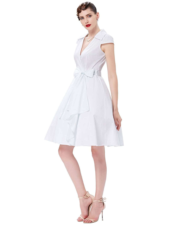 JS Fashion Vintage Dress Grace Karin Womens Wrap Dresses Cap Sleeve V-Neck for Party
