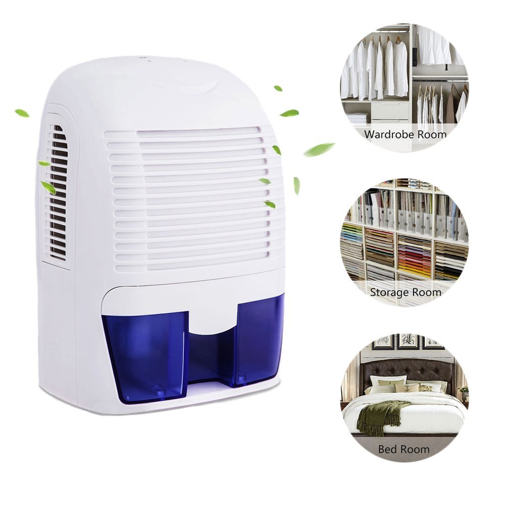 Hurbo 1.5L Electric Dehumidifier Quiet Compact 2200 Cubic Feet Portable for Home, Basement, Damp Air, Mold, Kitchen, Bedroom, Caravan, Office, Garage
