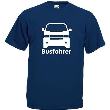 Busfahrer T4 T-Shirt Navy Blau/ Druck Weiß bis Größe 5XL: Amazon.de ...