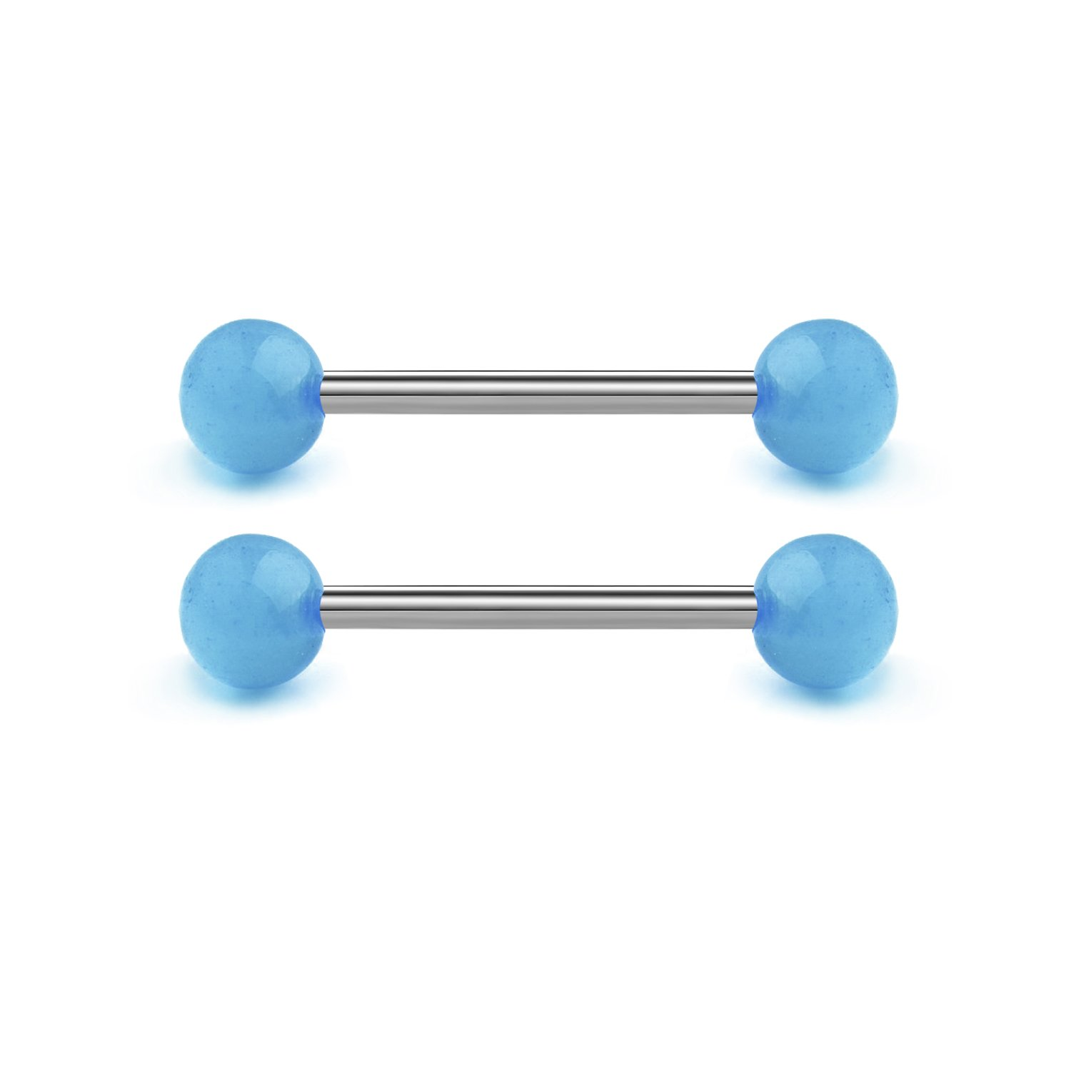 JFORYOU 14G Tongue Rings Nipplerings Stainless Steel Barbell Bio-Flex Comfortable Barbell Ring Body Piercing Jewelry 14mm 16mm 18mm 3 Length Size can Choose