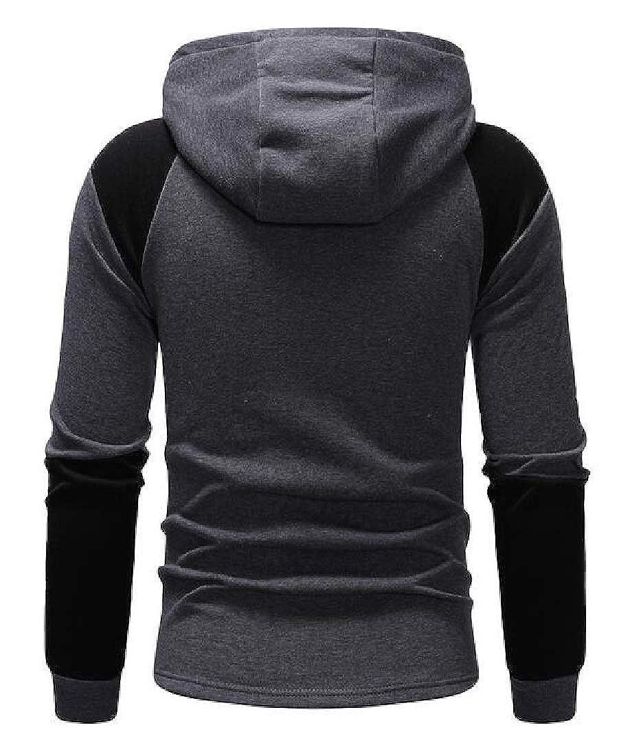UUYUK Men Slim Casual Contrast Zipper Long Sleeve Hooded Sweatshirt Jacket