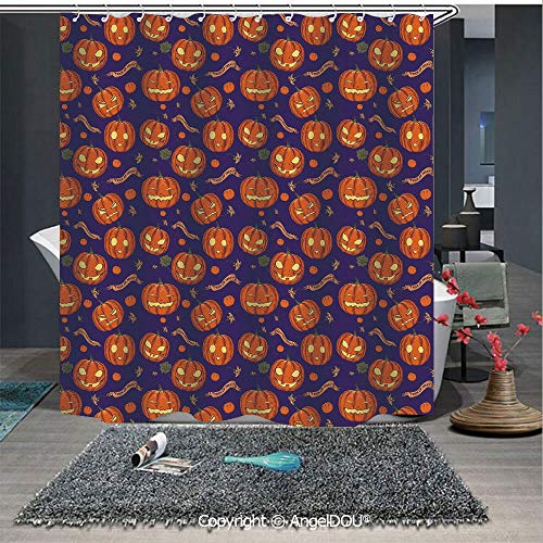 AngelDOU Halloween Printed Fabric Shower Curtain Pumpkins Pattern Different Face Expressions Happy Angry Scary Puzzled Home Decorations for Bathroom -