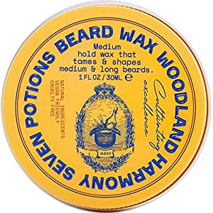 Seven Potions Beard Wax 1 oz. Natural And Organic Beard Styling Wax For Medium Hold. Shape And Nourish Your Beard While Looking Natural. Doesn't Make The Beard Stiff (Woodland Harmony)