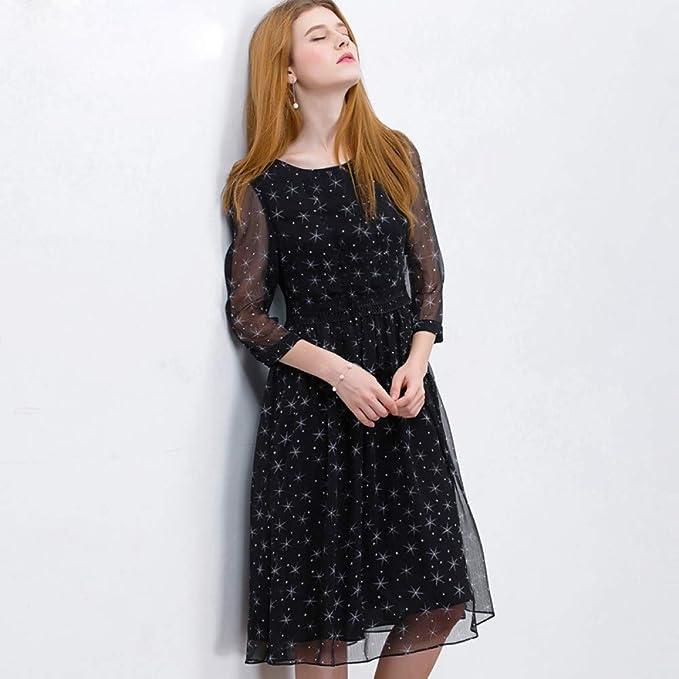 Deli Vestido Largo De Gasa Vestido Negro con Estampado De ...