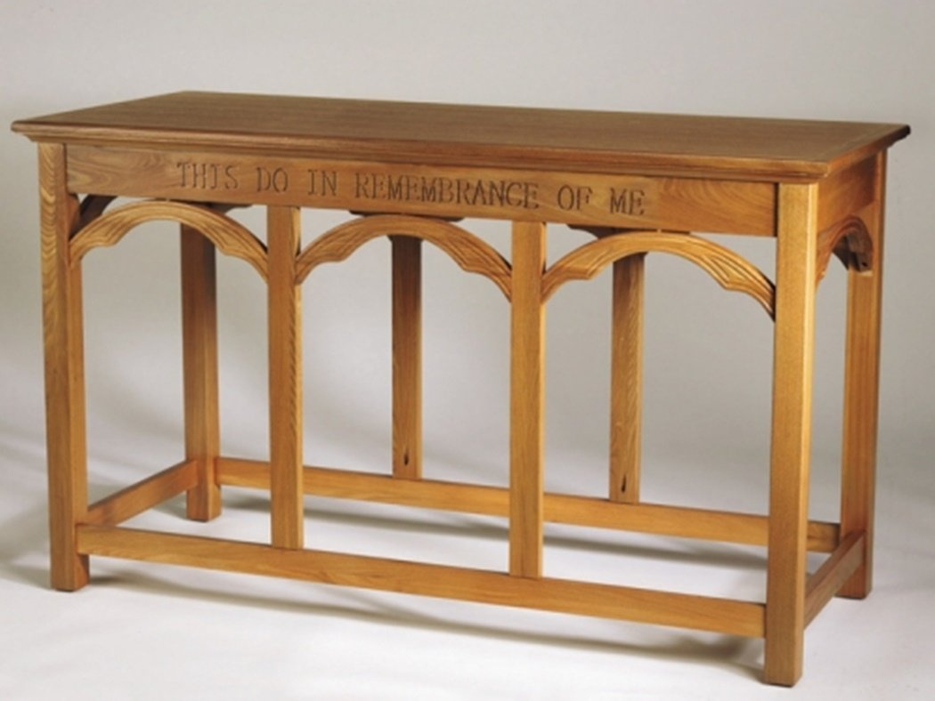 This Do in Remembrance of Me Eastern Oak Wooden Communion Table, 54 Inch by Canterbury Collection