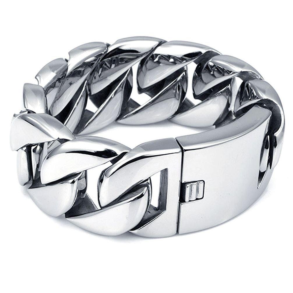 Dancing Stone Heavy Silver Stainless Steel Cuban Curb Biker Bracelet Link Cuff 9'' 10''