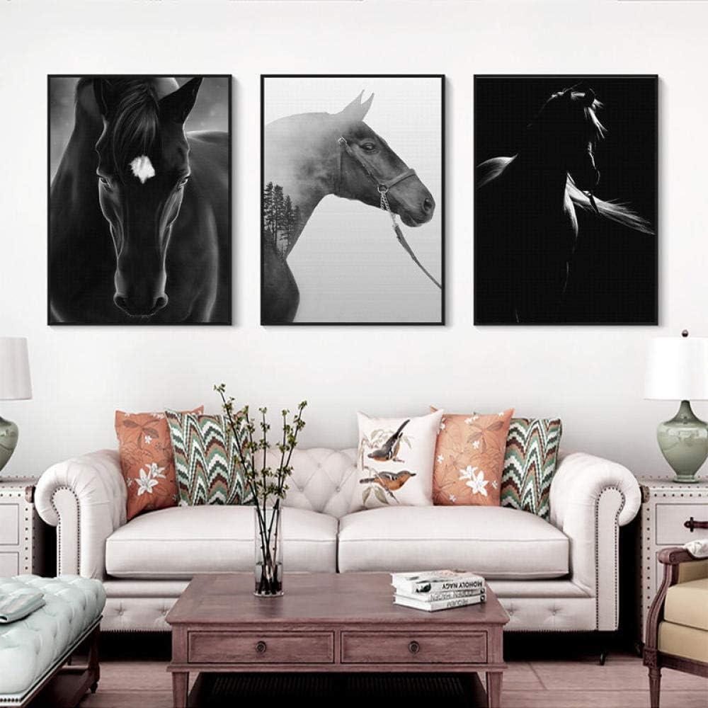 Caballo blanco y negro Cuadro animal Decoración para el hogar Pintura de lienzo nórdico Impresión de arte de pared Cartel de arte realista minimalista para sala de estar 40x60cmx3 Sin marco