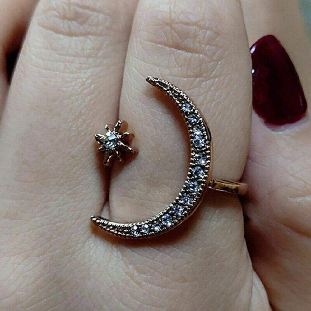 New Glitter Gold Silver Color Moon Star Ring Adjustable Crescent Moon Tiny Star Rings for Women Girls White Gold, OneSize