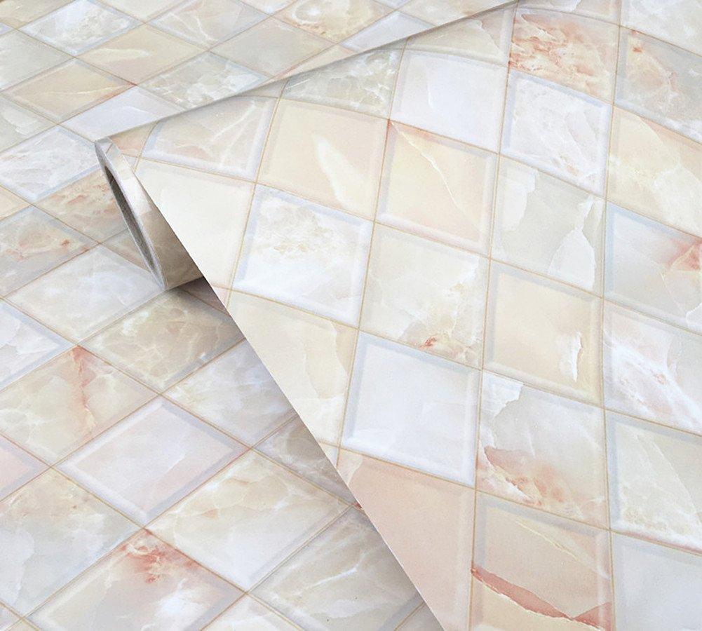 BESTERY Backsplash Tiles Self Adhesive Marble Gloss Vinyl Film Kitchen Contact Paper Peel Stick Wallpaper Decal 24inx79in Roll 53YEATHGDHG