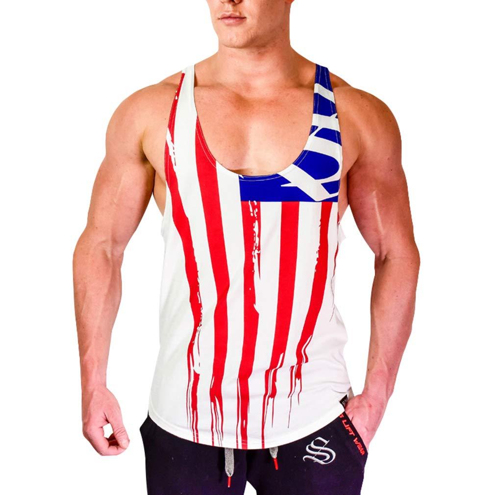 JiXuan Hommes Bodybuilding D/ébardeurs Gym Fitness Workout Coton sans Manches Gilet Casual Sling sous-Chemise