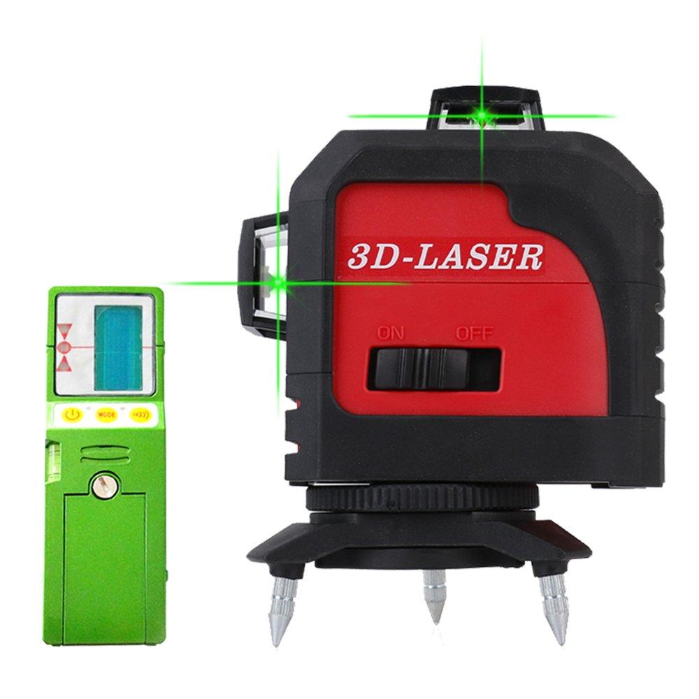 Fukuda MW-93T-3GJ フルライングリーンレーザー墨出し器+受光器セット 3D LASER 12ライン 360°垂直*2・360°水平*1レーザー墨出し器 レーザーレベル 水平器