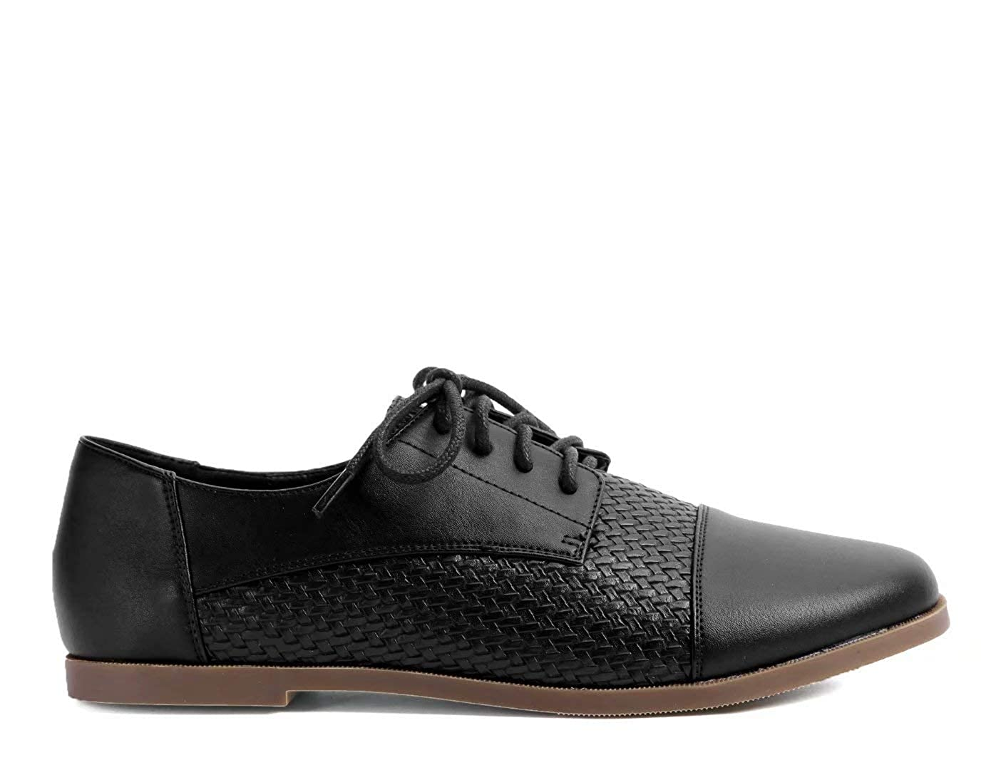 Greatonu Womens Brogues Shoes Lace Up Flats Derby Shoes Oxfords