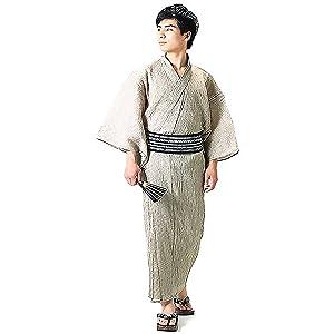 [ 京都きもの町 ] 男性 綿麻浴衣2点セット「白ベージュ破れ細格子浴衣×黒色献上柄角帯」 LL