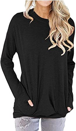 Long Sleeve Shirts for Women Womens Fashion Graphic Printed Round Neck Casual Loose Sweatshirt Blouse Tops