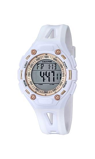 Calypso - Reloj Digital Unisex con LCD Pantalla Digital Dial y Correa de plástico Color Blanco K5666/1: Amazon.es: Relojes