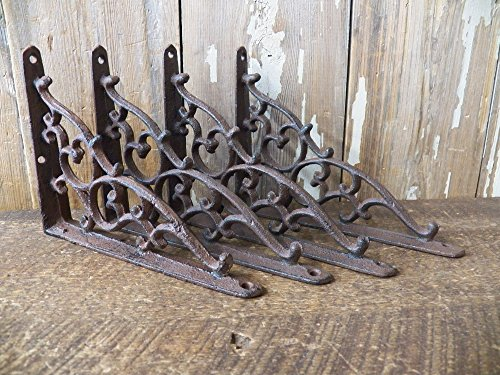 "Lot/Set of 4 Antique-Style Cast Iron SMALL 5 1/4"" x 7"" SHELF BRACKETS Hangers"