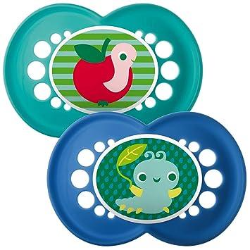 Amazon.com: MAM 6 + Meses Azul Yummy chupetes 2-Pack: Baby