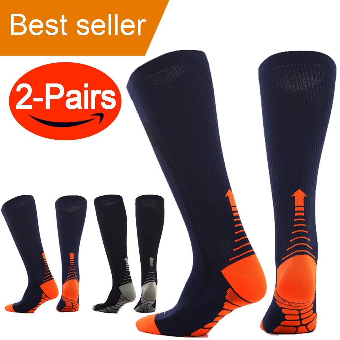 Compression Socks (Pair of 2) for Men Women Running Socks,Sport Socks for Running, Nurses,Shin Splints,Flight Travel, Pregnancy.Boost Stamina, (L/XL (8-15.5/8-14) by ANGELGG