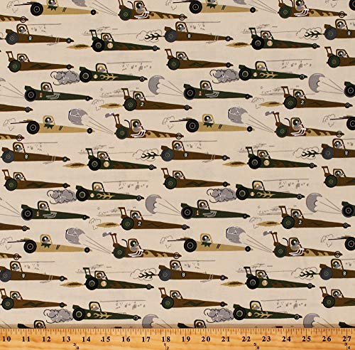 Hot Rod Dragster - Cotton Race Cars Rats Mice Driving Racecars Dragsters Hot Rods Rat Race Redux Kids Beige Cotton Fabric Print by the Yard (CX7338-CREM-D)