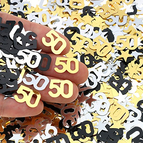 50th Birthday and Wedding Anniversary Party Table Confetti Decorations - 2400 Pieces, Gold Silver Black 50 Number and Little Star Metallic Foil Confetti for 50th Anniversary Theme Party -