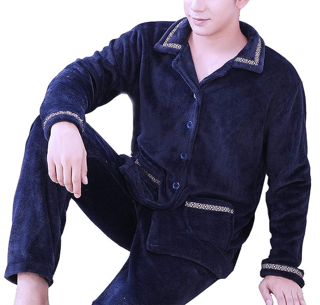 Femaroly Mens Fall Winter Thick Sleep Set Pajamas Warm Flannel Home Service Nightwear