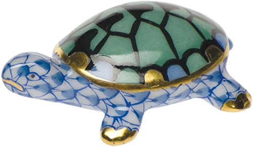 Herend Turtle Tiny Figurine Blue Fishnet