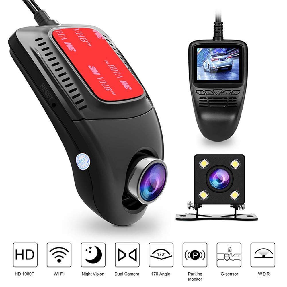 ZYWX Dash Cam Lcd1080p Car Hidden Camera, 170 ° Wide-Angle Lens Motion Detection Cycle Recording WiFi Module Night Vision and WDR