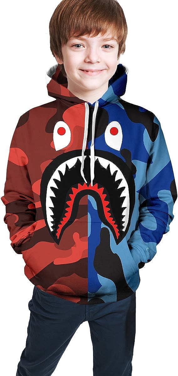 Muindancer Blood Shark Sweatshirts for Girls Boys Soft Teens Hoodies Plus Velvet Hoody Hooded Sweate Tops with Pockets
